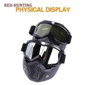 Hot Airsoft paintball Goggles with Tactical Mask Motorcycle Helmet Riding Skiing Goggles Glasses With Removable Face Mask