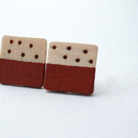 Orange- Not too Geeky Squares - Earrings - Polka Dots - Wood Burning - Neutrals - Raw Wood - Hand Painted
