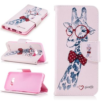 Giraffe Shockproof Phone Case For Samsung Galaxy S8 Plus S7 S6 edge S5  Case Cover PU Leather Flip Wallet Mobile Phone Shell