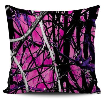 Hot Pink and Purple Camo Throw Pillow