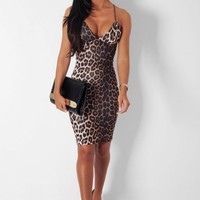 Vixen Leopard Print Bodycon Midi Dress | Pink Boutique