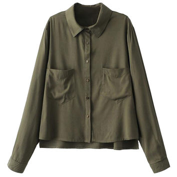 Army Green Split Side Dipped Back Military Shirt