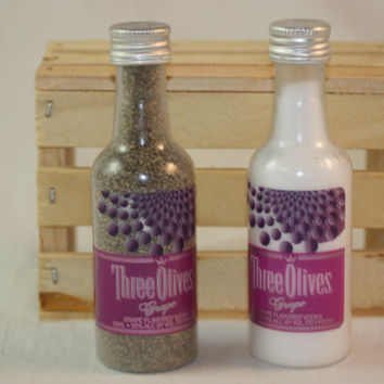 Salt & Pepper Shakers Upcycled from Three Olives Grape Mini Liquor Bottles