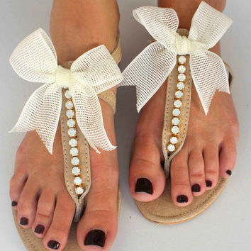 Leather Sandals - Wedding Sandals - Bridesmaid Sandals - Wedding Gift - Swarovski Rhinestones Sandals