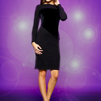 Wool jersey dress with contrasting velvet paneling, pencil dress, SALE!