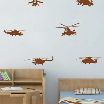 ik1798 Wall Decal Sticker military equipment army helicopters set bedroom