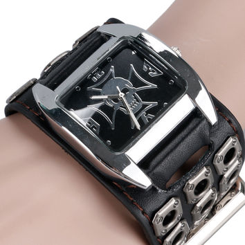 Rock Watch Men Cuff Special Design Skull Casual Hollow Leather Band Strap Quartz Fashion Bracelet