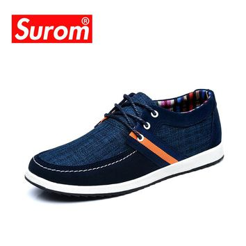 SUROM Men's Canvas And Denim Classic Boat Shoes
