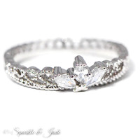 White Gold Plated CZ Dainty Crown Ring