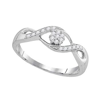 10kt White Gold Women's Round Diamond Twist Flower Cluster Ring 1/8 Cttw - FREE Shipping (US/CAN)