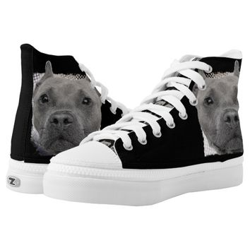 Pitbull Dog high top tennis shoes Printed Shoes