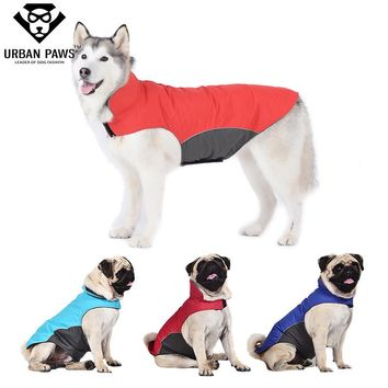 Urban Paws Large Dog Clothes Waterproof Spring Dog Raincoat Outdoor Jacket Pet Coat for Pugs Husky Bull Dogs Fleece Lining S-5XL