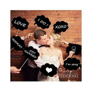 10 Pcs Photo Booth Prop DIY Bubble Speech Chalk Board Wedding Party Decoration Photobooth [7983548679]