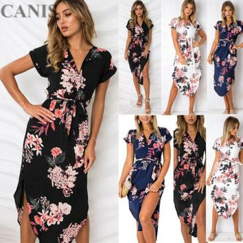 Boho Floral Printed NEW Women Sexy Dress Summer Casual Prom Party Loose Tunic Sundress Asymmetrical V neck Long Dress