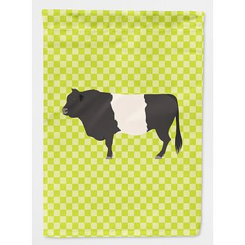Belted Galloway Cow Green Flag Canvas House Size BB7657CHF