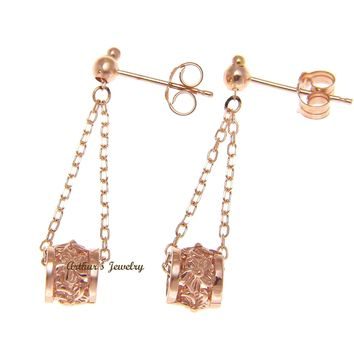 SOLID 14K ROSE GOLD CHAIN DANGLE HAWAIIAN PLUMERIA FLOWER BARREL EARRINGS
