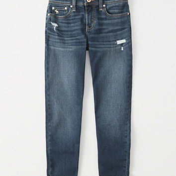 girls ripped girlfriend jeans | girls bottoms | Abercrombie.com