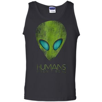 Alien Funny  Humans Aren't Real Cute UFO Gift Tank Top