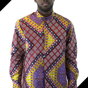 African  Print Men Shirt - Geometric Gold Navy Burgundy Purple