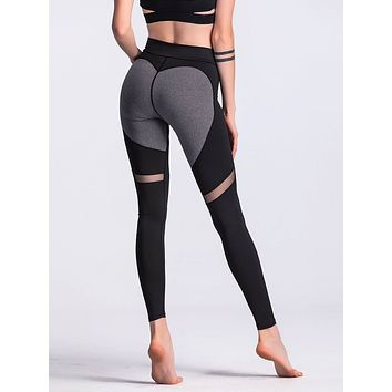 Sheer Mesh Panel Colorblock Legging Black