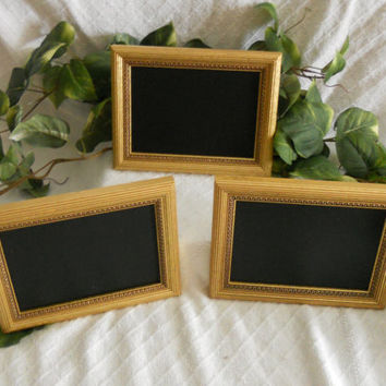 Set of three gold framed chalkboards, chalk board, chalkboard, small framed chalkboards, wedding decor, table markers, photo prop,