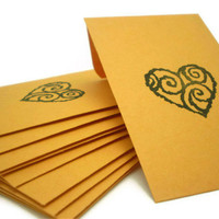 "Heart Kraft Envelopes Size 2.25"" X 3.5"" - Handstamped - 20 count"
