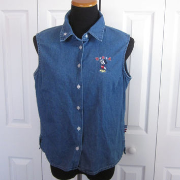 Vintage Mickey Mouse Shirt Sleeveless Denim Blouse Authentic Disney Character Shirt Large