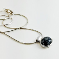 "Snowflake Obsidian Cabochon - Snowflake Pendant Necklace - Sterling Black and Gray Pendant - 16"" Sterling Necklace Pendant"