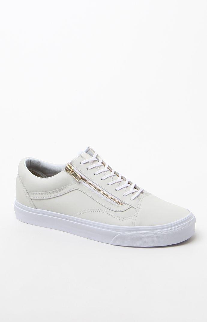 Vans Leather Old Skool Zip White   Gold Shoes - Mens Shoes - White Gold cf85589a1
