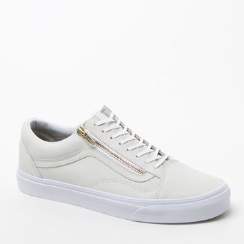 Vans Leather Old Skool Zip White & Gold Shoes - Mens Shoes - White/Gold