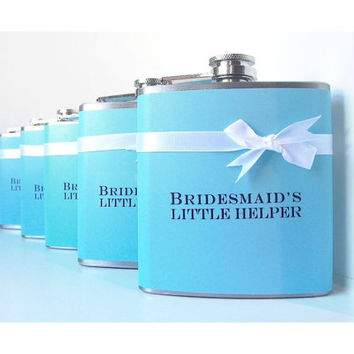 Bridesmaids Gifts, Maid of Honor Gift, Wedding Party Flask, Bachelorette Party Gift, Bridal Shower Gift, Tiffany Blue