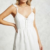 Textured Lace-Up Dress