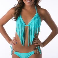 Hot Turquoise long Fringe triangle bikini sets