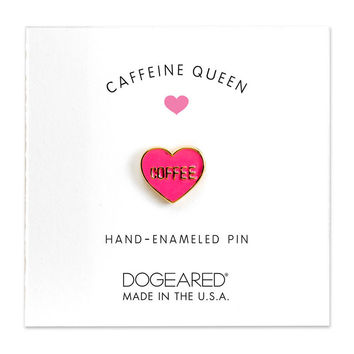 Dogeared | Caffeine Queen Heart Enamel Pin