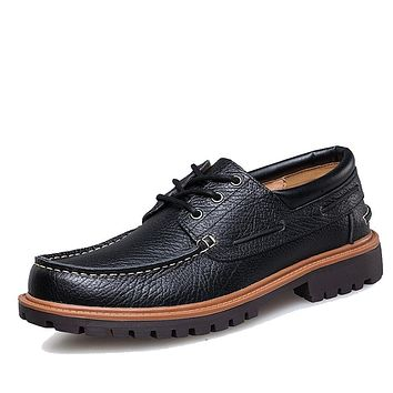 New Punk Style Urban Men Leather Shoes Retro Lace Up Hand-Sewing Men Boat Shoes Casual Oxford Shoes