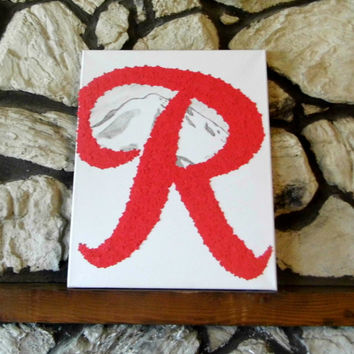 "Flower Wall Art- Rainier Beer ""R"" (16x20)"