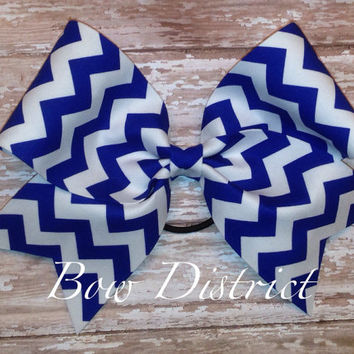 "3"" Royal Blue and White Chevron Cheer Bow"