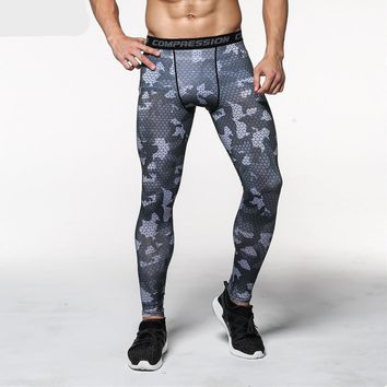 Gray Camouflage Tight Compression Bodybuilding Workout Fitness Men Leggings