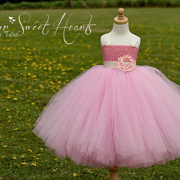 Pink Flower Girl Dress , Pink Tutu Dress, First Birthday Tutu, Pageant Dress, Barbie Dress