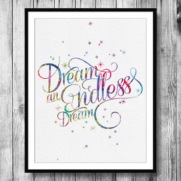 Instant Download Endless Dream Quote Sleeping Beauty Princess Aurora Watercolor Art Digital Printable JPEG Wall Art For Girls Art Wall Decor
