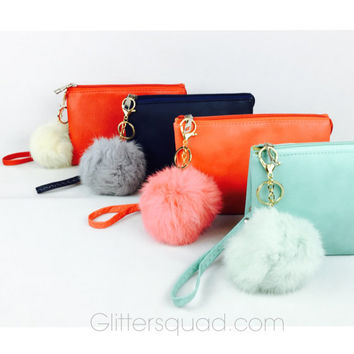 Furry Pom Pom Wristlet Monogram Clutch / Wristlet / Cross body  with  Faux Rabbits Fur Ball Pom Pom - Bridesmaid Favors / Birthday