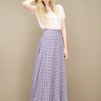 Navy blue and white vintage gingham skirt in a long A-line cut | shopcuffs.com