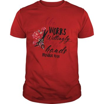 She works willingly with her hands proverbs 31:13 Premium Fitted Guys Tee