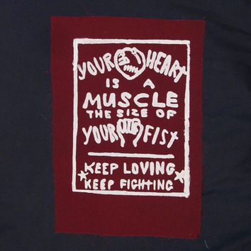 Your Heart is a Muscle the Size of Your Fist - Large Back or Bag Patch - maroon burgandy cherry dark red purple - print decolonize anarchy
