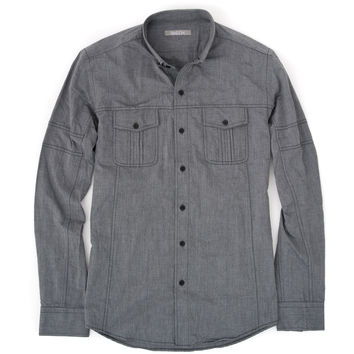The Editor Utility Shirt – Grey Chambray