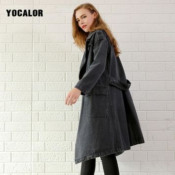 2017 Vintage Womens Autumn Gray Cowboy Windbreaker Long Loose Denim Trench Female Mink Coat For Women Overcoat Cardigan Roupa