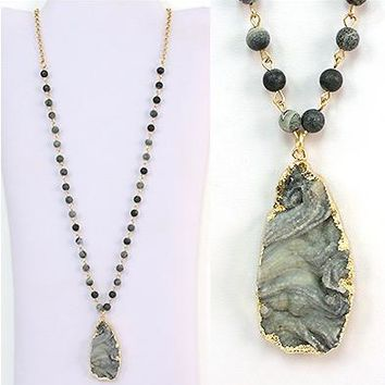 Grey Natural Stone Drusy & Pendant/Necklace - Gold Plated