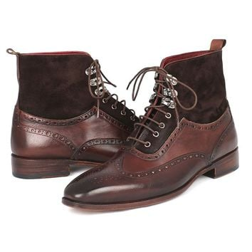 Paul Parkman Mens Wingtip Boots Brown Suede & Calfskin (ID#991-BRW)
