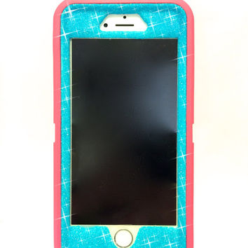 iPhone 6 Plus OtterBox Defender Series Case Glitter Cute Sparkly Bling Defender Series Custom Case  pink / blue