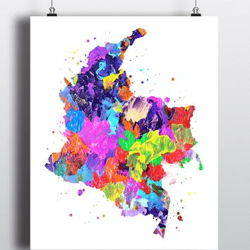 Colombia Map Art Print - Unframed